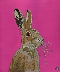 Hare on Pink II by Dylan Izaak -  sized 20x24 inches. Available from Whitewall Galleries